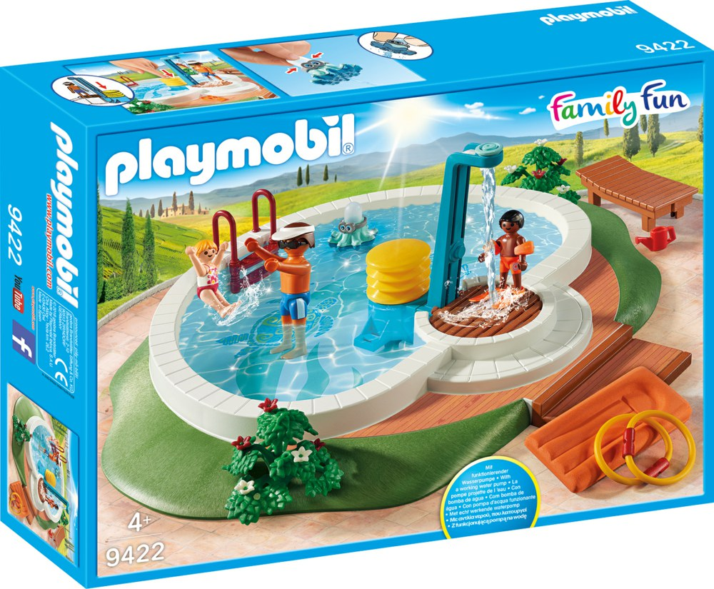 140 playmobil family fun 9422 4008789094223 swimmingpool die dusche funktioniert mit wasser die. Black Bedroom Furniture Sets. Home Design Ideas