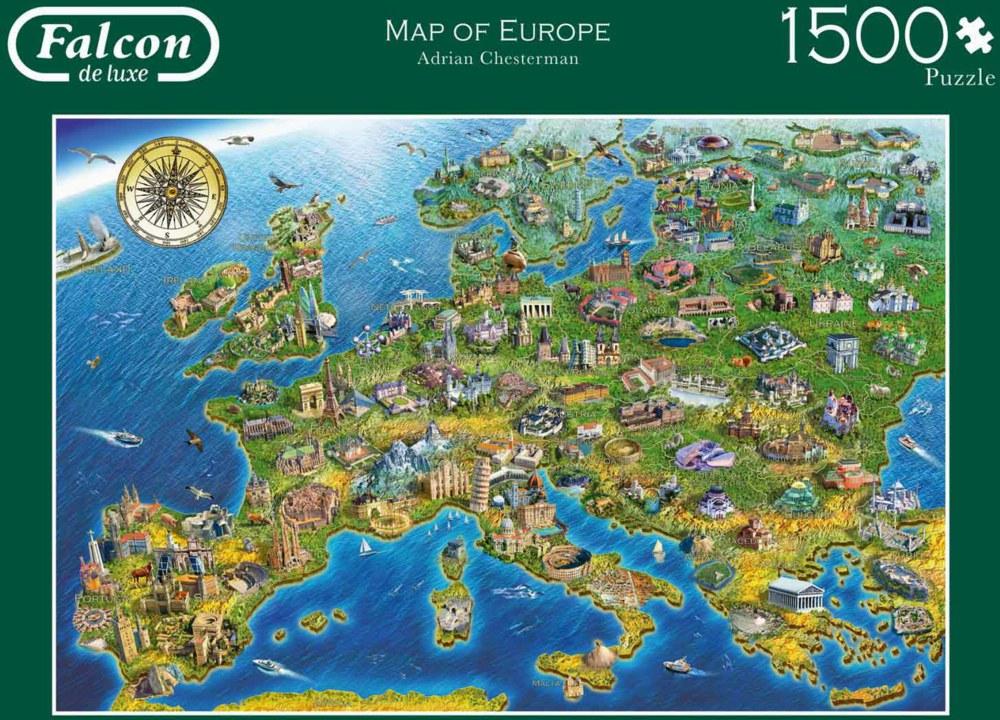 Jumbo 11057 8710126110577 Map of Europe Falcon, 1500 Teile ...