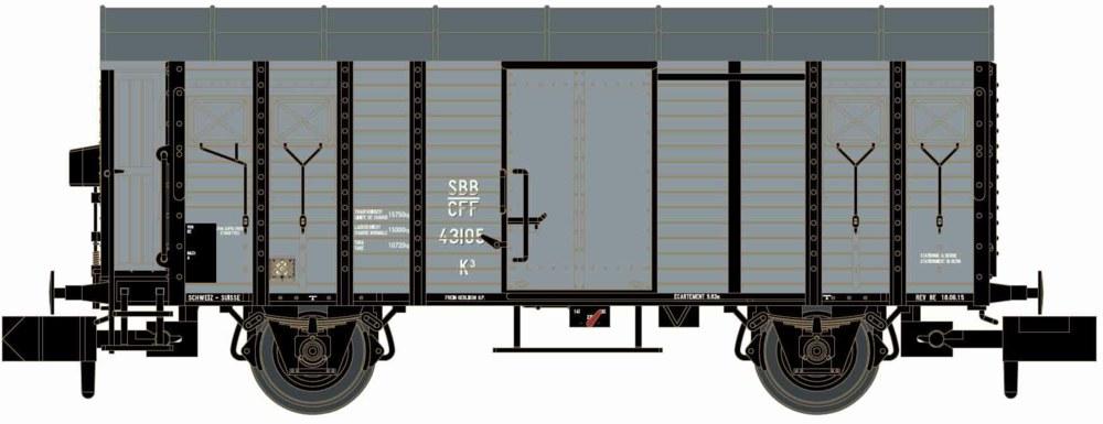 312-H24252 Güterwagen K3 SBB grau Hobbytr