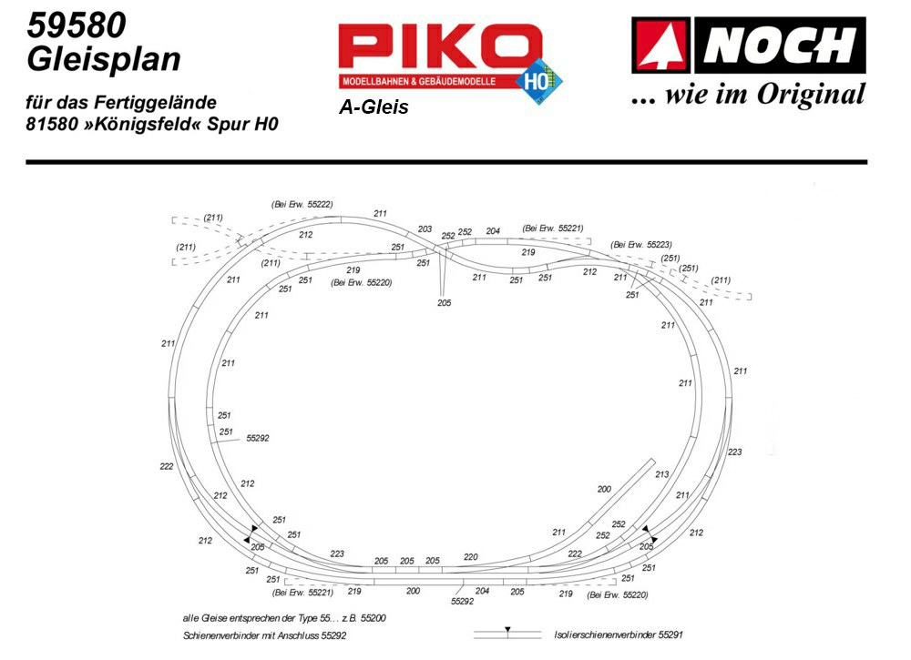 Piko BWR 55223 1 St Spur H0 Bogen-Weiche rechts