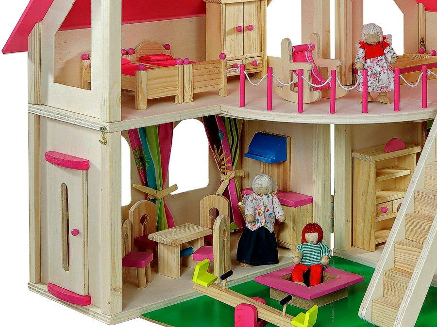 howa 7013 holz puppenhaus set klappbar howa ab 3 jahren natur rosa incl 21 t 4027914070130 7013. Black Bedroom Furniture Sets. Home Design Ideas