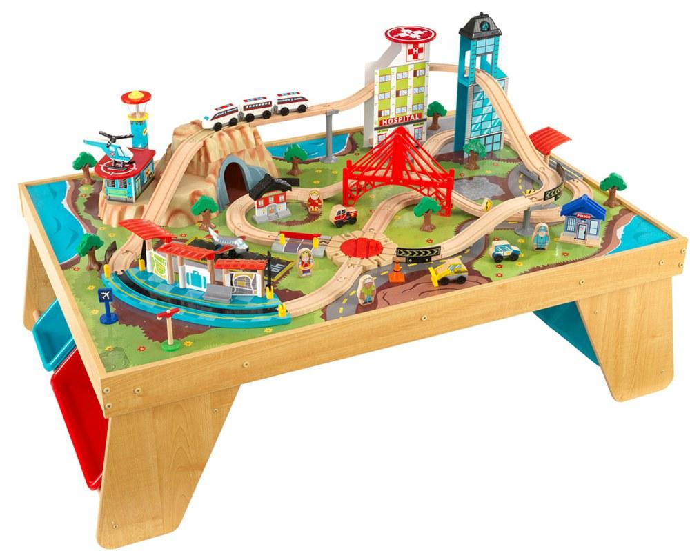 Spieltisch Eisenbahn kidkraft 17554 0706943175545 spieltisch eisenbahn aus holz aerocity