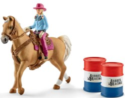 167-41417 Barrel racing mit Cowgirl Pfer