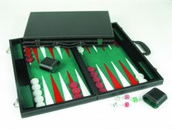 187-250513 Backgammon Koffer mit Becher u