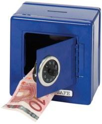 266-14020 Metalltresor als Spardose blau