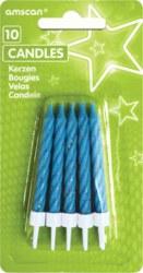 270-INT1708901 10 Kuchenkerzen, blau mit glit