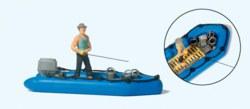 324-10687 Angler im Schlauchboot Preiser