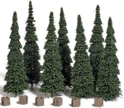 329-9755 7 Edelstecktannen mit Holzstap