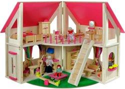 410-7013 Holz Puppenhaus-Set klappbar H