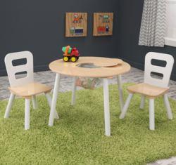 412-27027 Runder Tisch mit zwei Stühlen