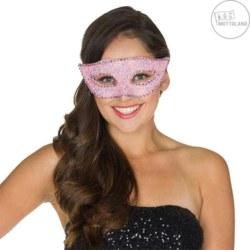 961-64010STD Maske Glitter Domino, rosa Mot