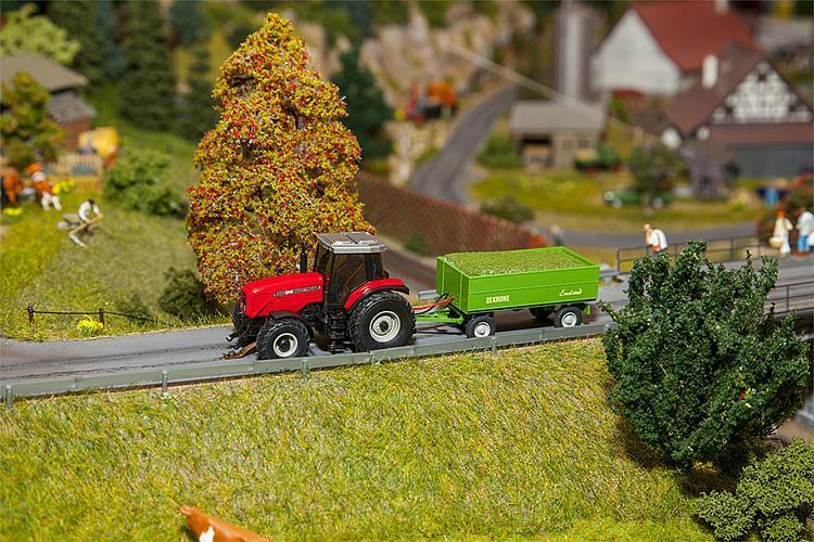 Traktor Massei Ferguson mit Krone Anhänger, Faller car system Fahrzeuge, Modellauto, Epoche V, Spur H0